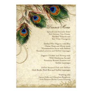 Peacock & Feather Elegant Matching Dinner Menu Custom Invite