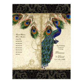 Peacock & Feather Elegant Matching Wedding Program