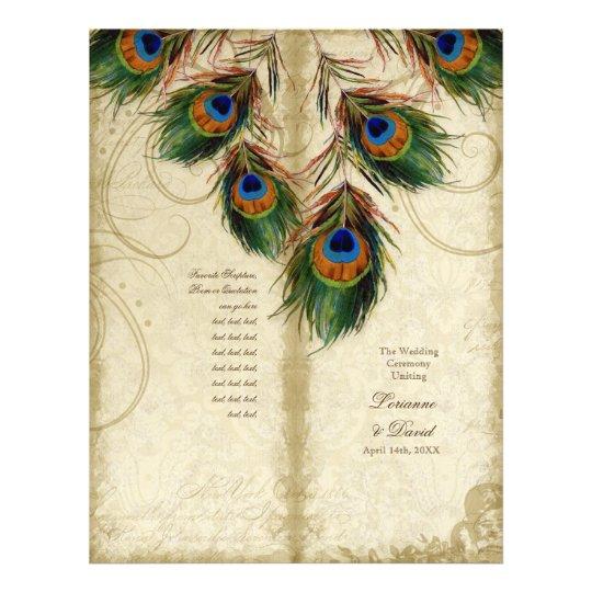 Peacock & Feather Elegant Matching Wedding Program
