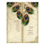 Peacock & Feather Elegant Matching Wedding Program Flyer Design