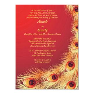 Peacock Feather Elegant Red Wedding Invitation