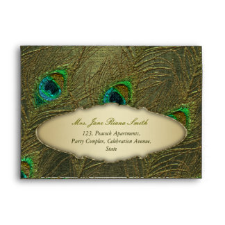 Peacock feather elegant vintage golden envelopes