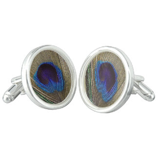 Peacock Feather Eye Wedding Cuff Links