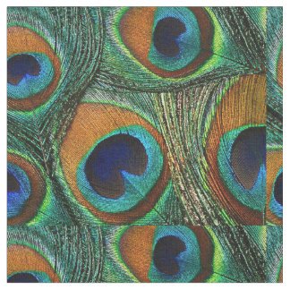 Peacock Feather Fabric - Tan, Aqua, Blue, Green