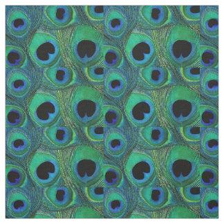 Peacock Feather Fabric Teal Aqua Blue Green Black