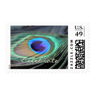 Peacock Feather Festive Customized Postage Stamps