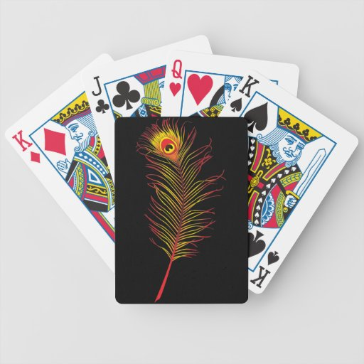 Peacock Feather Flame Bicycle Playing Cards