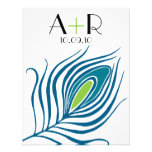 Peacock Feather Flat Notecard Personalized Announcements