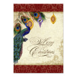 "Peacock & Feather Formal Christmas Ornament Card 5"" X 7"" Invitation Card"