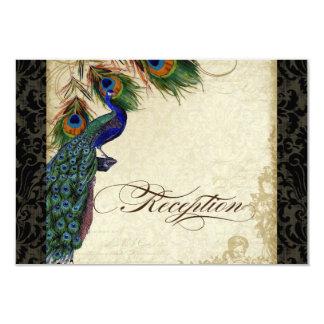Peacock & Feather Formal Reception Invite Black Ta