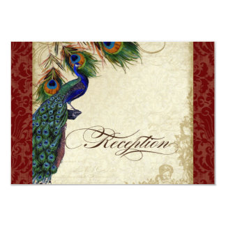 Peacock & Feather Formal Reception Invite Burgundy