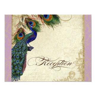 Peacock & Feather Formal Reception Invite Lavender