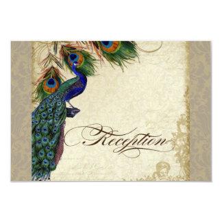 Peacock & Feather Formal Reception Invite Tan