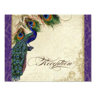 Peacock & Feather Formal Recetion Invite Purple