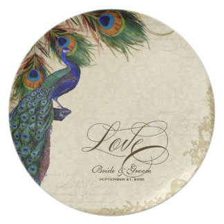 Peacock & Feather Formal Wedding Anniversary Gift Party Plates
