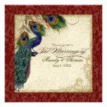Peacock & Feather Formal Wedding Invite Burgundy