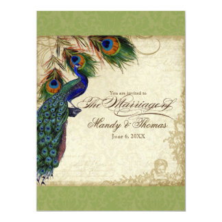 Peacock & Feather Formal Wedding Invite Lime Green