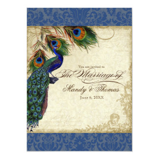 Peacock & Feather Formal Wedding Invite Navy Blue