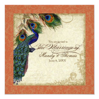 Peacock & Feather Formal Wedding Invite Orange