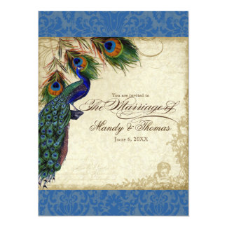 Peacock & Feather Formal Wedding Invite Royal Blue