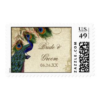 Peacock & Feather Formal Wedding Postage Aqua Blue