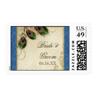 Peacock Feather Formal Wedding Postage Blue