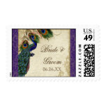 Peacock & Feather Formal Wedding Postage Purple