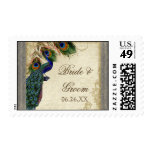 Peacock & Feather Formal Wedding Postage Silver