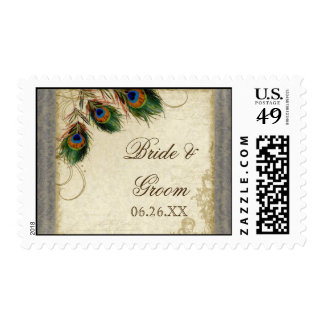Peacock Feather Formal Wedding Postage Silver