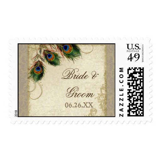 Peacock & Feather Formal Wedding Postage Taupe
