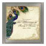 Peacock & Feather Formal Wedding Silver Metallic 5.25x5.25 Square Paper Invitation Card