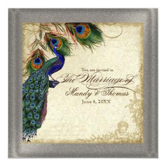 Peacock & Feather Formal Wedding Silver Metallic Invitation