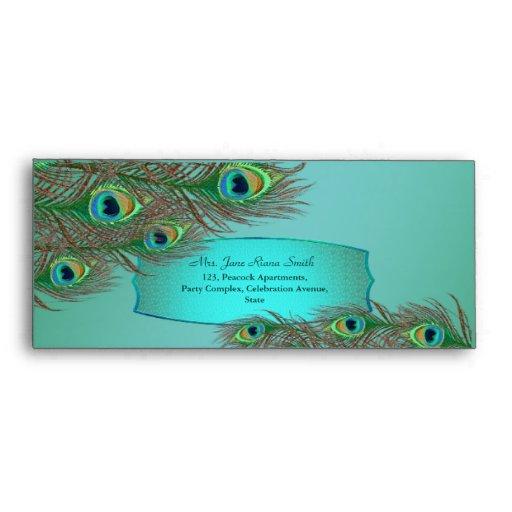 Peacock feather frame elegant  #10 envelopes