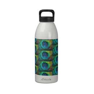 Peacock feather geometric print water bottles