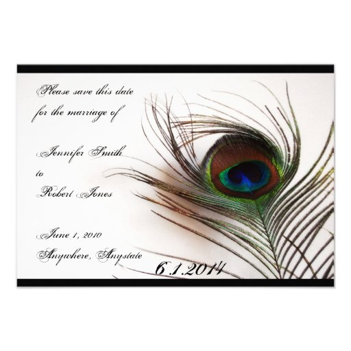 Peacock Feather Glamor Save the Date Personalized Announcement