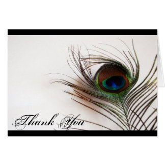 Peacock Feather Glamor Thank You Stationery Note Card