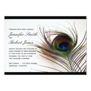 Peacock Feather Glamor Wedding Invitation 5