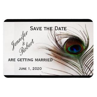 Peacock Feather Glamor Wedding Save the Date Rectangular Photo Magnet
