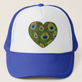 Peacock Feather Glittery Art Print Trucker Hat