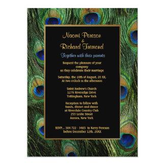 "Peacock Feather Green 6.5"" x 8 Wedding Invitation"