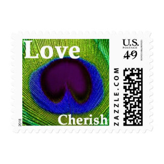 Peacock Feather Green Purple Blue Love Cherish Sta Stamp