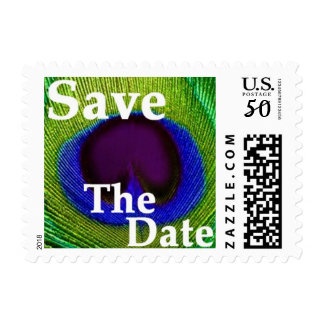 Peacock Feather Green Purple Blue Save The Date Postage