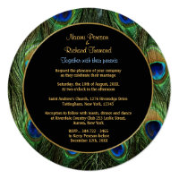 Peacock Feather Green Wedding Invitation Round