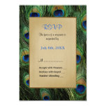 Peacock Feather Green Wedding - RSVP 3.5x5 Paper Invitation Card