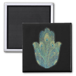 Peacock Feather Hamsa 2 Inch Square Magnet