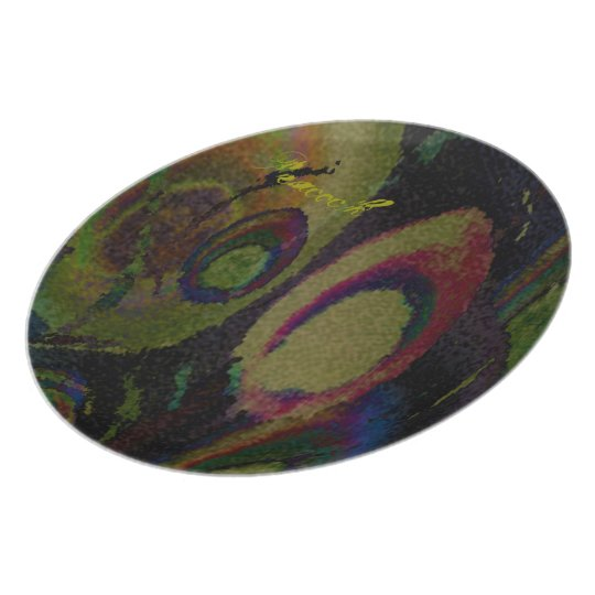 Peacock feather, hand drawing melamine plate
