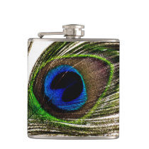 Peacock Feather Hip Flask