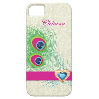 Peacock feather jewel heart custom iPhone 5 case