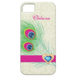 Peacock feather jewel heart custom iPhone 5 cover