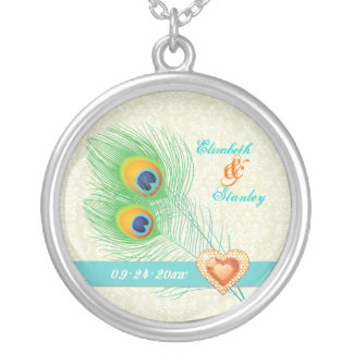 Peacock feather jewel heart wedding anniversary pendants